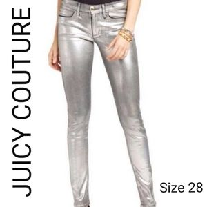 NWT Juicy Couture Silver Foil Coated Skinny jeans